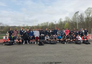 V and JV boys lacrosse Eco Weekend clean up at Wilkins Field
