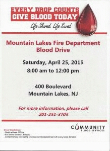 Blood Drive @ ML Volunteer Fire Department | Mountain Lakes | New Jersey | United States