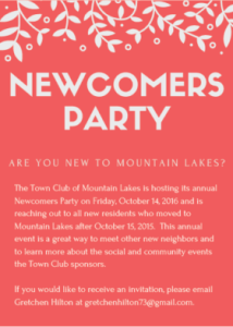 Town Club of Mountain Lakes Newcomers Party
