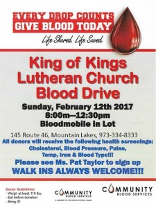 Blood Drive, King of Kings Lutheran Church @ King of Kings Lutheran Church | Mountain Lakes | New Jersey | United States